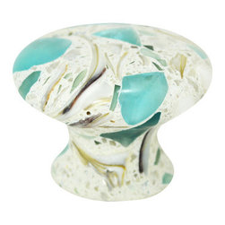 """Pierre Habitat - Mushroom Cabinet Knobs - Make all your home cabinetry """"pop"""" with these stylish Mushroom Cabinet knobs from Pierre Habitat. Made with recycled glass that is totally green and sustainable. These pulls not only look good, they are good - for both you and the planet.  Planet-Friendly Hardware designed for you by Pierre Habitat. Sold Single."""
