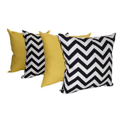 Land of Pillows - Sundeck Yellow and Chevron Black and White Outdoor Throw Pillows - Set of 4, 16x - Fabric Designer - Premium Home Decor