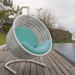 Mercy Hanging Chair from Skyline Design - The Mercy Outdoor Hanging Chair features a unique and elegant design, indicative of the innovation and quality that has made Skyline Design the leader in luxury outdoor furniture.  Integrating the finest synthetic weaving materials with strong aluminum frames, Skyline Design creates furniture that is as beautiful as it is durable.  Utilizing revolutionary high-density polyethylene weaving material, Skyline Design furniture is high-tensile strength, chemical and UV resistant, all-weather proof furniture that is safe for the environment and 100% recyclable.