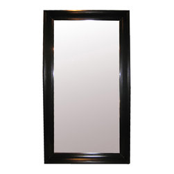 Colonial Large Mirror - Black - A seven-foot floor mirror is the perfect d�cor solution for creating symmetry, for expanding space, and for reflecting light.  Subtly handsome, the Colonial Large Mirror is framed in a simple rectangle of traditional carved birch molding, an edge design that lets it offer Palladian balance for a doorway, unify the styles of other interior-design focal points, or provide a serviceable accent for a transitional bath.  The multiple uses of this mirror can improve any room.