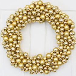 Golden Splendor Holiday Wreath by We Love Wreaths - Metallics are the trend of the moment, and this gold wreath is the perfect way to add holiday sparkle to your front door.
