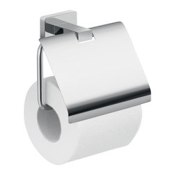 Gedy - Wall Mounted Chrome Toilet Paper Holder With Cover - Toilet paper holder with cover is made of stainless steel and cromall. Designed for the Atena collection by Gedy in Italy. Paper holder mounts to the wall with screws (included). Chrome Toilet Paper Holder. Made by Gedy. Part of the Atena collection. Wall