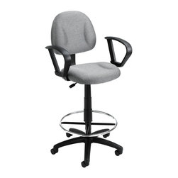 """Boss Chairs - Boss Chairs Boss Drafting Stool (B315-GY) with Footring and Loop Arms - Contoured back and seat help to relieve back-strain. Pneumatic gas lift seat height adjustment. Large 27"""" nylon base for greater stability. Hooded double wheel casters. Strong 20"""" diameter chrome foot ring. With loop arms. Available in four fabric colors. Optional glides can be used in place of casters (TU021)."""