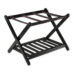 """Winsomewood - Reese Luggage Rack with Shelf - Dimensions: 26.54""""W -18.66""""D -20""""H"""
