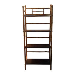 Used Vintage Bamboo Shelf - A perfectly petite bamboo shelving unit well suited for a bedroom, entryway, or powder room.  This piece has potential to work excellently in a Hollywood Regency inspired space, and would look fab kicked up in a hot pink or royal blue paint job!