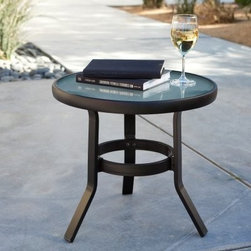 20 Inch Patio Side Table - Perfect for keeping snacks, beverages, and magazines handy, the 20 Inch Patio Side Table offers additional table space and makes a great addition to your outdoor seating area. Made from durable aluminum frame, it boasts a stylish captured glass top that highlights its curved legs and upscale design. And the best part is that it comes in a choice of popular powder-coated finishes to coordinate with your existing patio furniture. This table is virtually maintenance-free, requiring simple hosing off or wiping with a solution of mild soap and water.