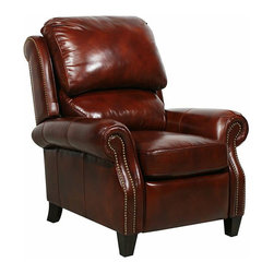 Barcalounger - Churchill II Power Recliner - The classic pub back and brass nail head treatment of the Churchill II is enriched with luxurious comfort through personalized adjustable upper and lower back pillows.