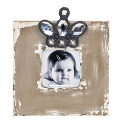 Zentique - Wood Photo Frame - Variation 1 - Turn up the style on your family photos with an eclectic frame that truly stands out from the bunch. You will love how the rustic and glamorous elements come together perfectly to complement a photo of that someone special. It makes a great gift for anyone who loves a little shabby chic decor.