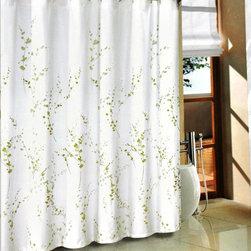 Green Sprigs Fabric Shower Curtain -