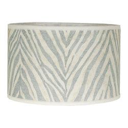"16"" Euro Fitter Zebra Stripe Linen Drum Shade -"