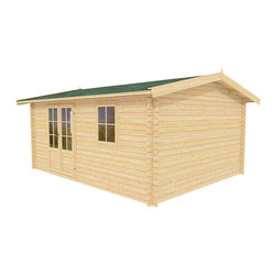 Paradise 12 x 10 Wood Shed / Pool House - ECO Garden Sheds. All natural wood 12 x 10 Traditional pool house / wood shed -- Paradise. 12 x 10 Wood Shed - Front view B.
