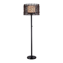 Kenroy - Kenroy KR-32220BRZ Tanglewood Outdoor Floor Lamp - Natural looking all-weather rattan entwines itself into a swirling patterned drum encircling a White glass inner shade.