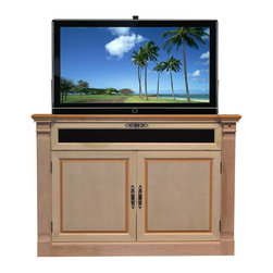 "Touchstone Home Products - Adonzo Unfinished TV Lift Cabinet for Flat Screen up to 60"" - The Adonzo can be seen in the detail of the woodwork, it can raise and lower most 60"" diagonal flat screen TV's. There is a cherry finish with solid wood doors. Behind the front doors have great storage for DVD boxes and games. Also, the bottom shelf holds all cable box and theater system components. The Adonzo is equipped with sliding rear panels. The media shelf in front of cabinet is 8.5""H x 6.5Dx 55""W. This is a drop down shelf designed to hold sound bars, DVD's, and more."