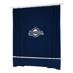 Sports Coverage - MLB Milwaukee Brewers Baseball Accent Shower Curtain - Features: