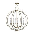 Joshua Marshal - Eight Light Antique Brass Up Chandelier - Eight Light Antique Brass Up Chandelier