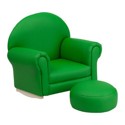 Flash Furniture - Flash Furniture Kids Green Vinyl Rocker Chair and Footrest - Kids will now get to enjoy furniture designed specifically for their size! This charming set is sure to become your child's favorite chair. The rocker base will allow kids to gently rock while watching TV or reading their favorite book. This portable chair is great for seating in any room. The vinyl upholstery ensures easy cleaning and will hold up against your active child.