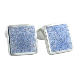 Frontgate - Blue Multicolored Cufflinks - Made of textured enamel and .925 sterling silver. Bullet backs. Great for gift giving. Our Blue Paisley Cufflinks provide a style-conscious finish for French cuff shirts, with light blue enamel textured with a richly detailed paisley design, set in a classic .925 sterling silver setting.  .  .  . Made in the USA.