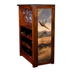 Kelseys Collection - Wine Cabinet 15 bottle Prairie Wings - Wine Cabinet stores fifteen wine bottles and glassware with licensed artwork by Rosemary Millette giclee-printed on canvas side panels  The frame, top, and racks are solid New Zealand radiata pine with a hand stained and hand rubbed medium reddish brown finish, which is then protected with a lacquer coat and top coat. The art is giclee printed on canvas with three coats of UV inhibitor to protect against sunlight, extending the life of the art. The canvas is then glued onto panels and inserted into the frames.