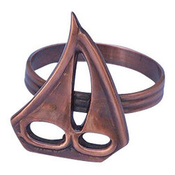 "Handcrafted Model Ships - Antique Copper Sailboat Napkin Ring 2"" - Nautical Decoration - This Antique Copper Sailboat Napkin Ring 2"" is the perfect addition for those with a nautical theme kitchen. Strong, sturdy, and durable buy a set of these napkin rings to accommodate all of your guests. The antique copper finish on this sailboat will infuse your dining area with a rustic nautical appearance. Dimensions: 2"" Long x 2"" Wide x 2"" High"