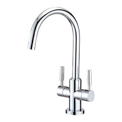 Kingston Brass - Two Handle Vessel Sink Faucet - Single Handle Deck Mount, 1 Hole Sink Application, Fabricated from solid brass material for durability and reliability, Premium color finish resists tarnishing and corrosion, 1/4 turn On/Off water control mechanism, 1/2in. IPS male threaded inlets with flexible braided stainless steel supply lines, Ceramic disc cartridge, 2.2 GPM (8.3 LPM) Max at 60 PSI, Integrated removable aerator, 8-1/2in. spout reach from faucet body, 12-1/2in. spout height.