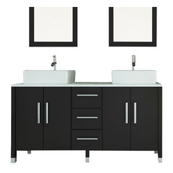 "JWH Imports - 59"" Sirius Double Vessel Sink Modern Bathroom Vanity with Phoenix Stone Top - Double trouble, the bathroom edition ... enjoy side by side ablutions with a sleek modern flare. This sink vanity boasts a glass top and ultrachic sink basins. With ample storage space, this stylish piece is built to last a lifetime."
