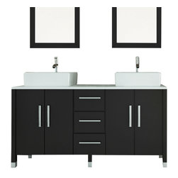 JWH Imports - Sirius Double Vessel Sink Modern Bathroom Vanity With Phoenix Stone Top - Double trouble, the bathroom edition ... enjoy side by side ablutions with a sleek modern flare. This sink vanity boasts a glass top and ultrachic sink basins. With ample storage space, this stylish piece is built to last a lifetime.