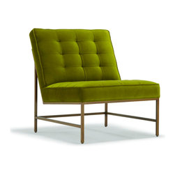 Mitchell Gold + Bob Williams - Major Chair - Major chair, seen here in emerald green velvet and with a burnished brass frame. Chair is also available in leather.