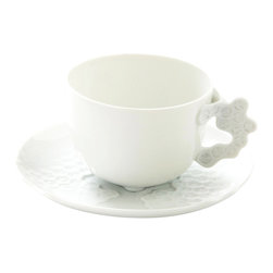 Rosenthal Studio - Landscape White Porcelain Cup and Saucer - The Landscape collection was inspired by patterns that can be found in nature. This unique, individual design is beautiful enough for any occasion, and versatile enough to pair with a wide range of accessories.