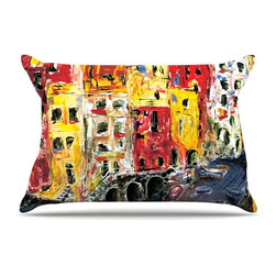 "Kess InHouse - Josh Serafin ""Cinque Terre"" Red Yellow Pillow Case, King (36"" x 20"") - This pillowcase, is just as bunny soft as the Kess InHouse duvet. It's made of microfiber velvety fleece. This machine washable fleece pillow case is the perfect accent to any duvet. Be your Bed's Curator."