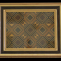 """2014 Wood Art Line - Mahogany, wenge, cherry, maple and walnut abstract with small hourglasses.  Exotic frame of curly maple, mahogany, and wenge.  23.5"""" x 28.75"""""""