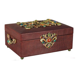 Jay Strongwater - Jay Strongwater Gaspar Grand Leather Box - Jay Strongwater Gaspar Grand Leather Box  -  Size: 13 inches wide x 6.25 inches tall  -  Color: Spice  -  Hand-Painted Enamel Over Metal  -  Hand-Set With Swarovski Crystals  -  Made In U.S.A. by Jay Strongwater Creations  -  Jay Strongwater Item Number: SDH7309 433