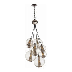 Arteriors Home - Arteriors Home Caviar Adj Md Brown Nickel/Smoke Glass Cluster - Arteriors Home D - Drop this enchanting light from your ceiling and you'll think you've been blowing bubbles. Delicate glass spheres combine with threadlike polished nickel cords to give you an ethereal, romantic ambiance. This glass bouquet would look stunning in your foyer, dining room or living room. If you're very daring, hang one in your bath for an elegant, unusual design. You'll be forever blowing bubbles.