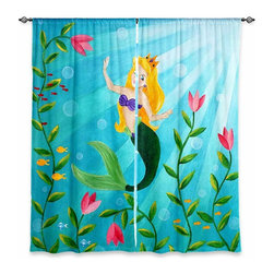 """DiaNoche Designs - Window Curtains Unlined - nJoyArt Mermaid - Purchasing window curtains just got easier and better! Create a designer look to any of your living spaces with our decorative and unique """"Unlined Window Curtains."""" Perfect for the living room, dining room or bedroom, these artistic curtains are an easy and inexpensive way to add color and style when decorating your home.  This is a tight woven poly material that filters outside light and creates a privacy barrier.  Each package includes two easy-to-hang, 3 inch diameter pole-pocket curtain panels.  The width listed is the total measurement of the two panels.  Curtain rod sold separately. Easy care, machine wash cold, tumbles dry low, iron low if needed.  Made in USA and Imported."""