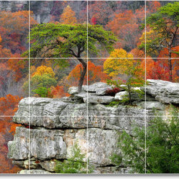 Picture-Tiles, LLC - Trees Leaves Picture Mural Tile T022 - * MURAL SIZE: 24x32 inch tile mural using (12) 8x8 ceramic tiles-satin finish.