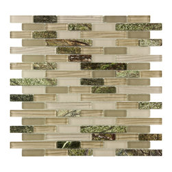Somertile - SomerTile 12x11.75-in Reflections Piano Rainforest Glass and Stone Mosaic Tile ( - The great outdoors become a focal point in your home with these decorative glass and stone mosaic wall tiles. Shades of green and brown recreate the look of a rainforest, while the lighter-colored and clear glass tiles tone down the darker shades.
