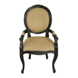 Noir - Noir - Isabelle Dining Arm Chair, Black - Hand Rubbed Black Mahogany Wood, with Olive Cotton