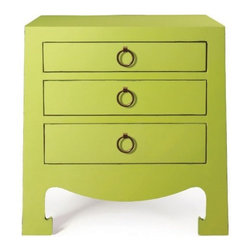 Bungalow 5 Jacqui Green 3-Drawer Side Table - Lacquer Finish: Gold Ring Pulls.