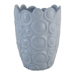 Selectives - 13-Inch Tall Violeta Kyoto Vase - Check this lovely ceramic vase.  Its surface features a pattern of raised circles with uneven scalloped edge.  The vase has a glossy glazed exterior surface.  This piece will make an outstanding addition to your decor.