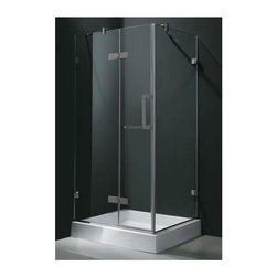 Vigo Industries - 32 in. Frameless Brushed Nickel Shower Enclosure with Shower Tray - Enjoy the beauty and elegance of this uniquely stylish and totally frameless Vigo square-shaped shower enclosure. Clear PVC side gasket installs vertically onto door to ensure a water-tight seal between door and side panel when the door is in the closed position. Constructed of acrylic with fiberglass reinforcement this Vigo shower base features a double threshold textured bottom for added safety. Durable cross-linked cast acrylic shell is extremely scratch and stain resistant yet renewable because the color goes all the way through the material.