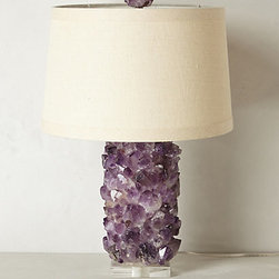 Anthropologie - Amethyst Crystal Lamp Base - This is a sculptural work of art, and it provides light of course. I love the slightly shorter scale of this amethyst lamp.