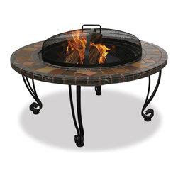 "Garden Treasures - Garden Treasures WAD820SP Fire Pit 34"" Wide w/ Slate Mantel - 4 Log Capacity"