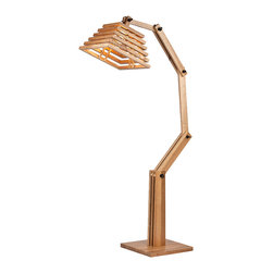 Large Wooden Floor Lamp Home Lighting Fixtures - Feature with a square wood base and a unique design wooden shade with  an adjustable arm, this gorgous floor lamp is a great lighting accessory to complement your home decor. Natural wood texture color and unique design will make you feel so close to the nature, creating a relaxed and delightful atmosphere.
