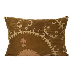 """Metrohouse Designs - """"Consigned"""" 50 year old Vintage Suzani Lumbar Pillow - Suzani pillows, as its name suggests, this processing technique,which means needle in Persian,consists of a combination of needle and manual labor."""