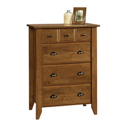 Sauder - Sauder Shoal Creek 4-Drawer Chest in Oiled Oak - Sauder - Chests - 410288 - Contemporary meets rustic in this dresser from the Sauder Shoal Creek collection. Drawers feature metal runners and safety stops, allowing you to use this in even the busiest of households. The assembly couldn't be easier with the patented T-slot drawer assembly system. As an added bonus, the interlocking safety mechanism allows for only one drawer to be open at a time. Finished in a beautiful Oiled Oak, there is no doubt that this dresser will be a staple in your child's bedroom, master bedroom, or guest room for years to come.
