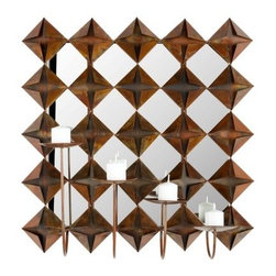 Origami Candle Wall Sconce - 20.1H in. - A striking addition to any room in your home, the Origami Candle Wall Sconce – 20.1H in. features a rich, coppery iron construction with each piece resembling a crisply folded piece of Japanese origami. Four candle-holding pillars emerge from the backdrop, offering a flickering glow that is sure to up the ambiance for any occasion. Mirrors alternate between each durable metal diamond to add depth and increase the glow offered by each candle.