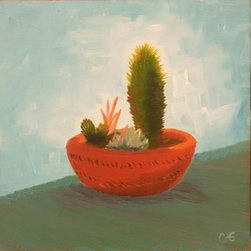 Ceci's Cactus (Original) by Cyndi Gonzalez - My friend Cecilia and I were planning to paint outside one afternoon, but when we got to our chosen site it was too windy. So, we packed everything up and went back to her apartment, where I painted her sweet cactus instead.