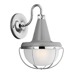 Feiss - Feiss WB1727HGG/PN Livingston 1-Light Wall Sconces - 1 Bulb High Gloss Gray / Polished Nickel Wall Sconce