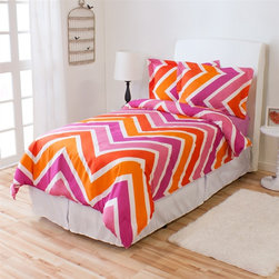 TwinXL.com - Twin XL Melrose Comforter Set - This new Melrose comforter was made to turn some heads. It features a chevron pattern consisting of 3 fluorescent colors (Orange, white and pink). Made of 100% microfiber shell that is filled to the top with polyester fibers for extra plush.