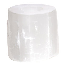 Kathy Kuo Home - Natural White Selenite Stone Coastal Beach Votive Candleholder - Set of 3 - Purity, beauty and distinct modernism are all evoked naturally wherever selenite appears. Carved to hold a votive sized candle, this small cylindrical piece creates a calming glow.  Whether your style is tuned in to New Age or more New York, a selenite candleholder is always an ideal choice.