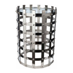 """Lazy Susan - Lazy Susan Metal Strap Table - Inspired by old New York ironwork, the open cage-like construction and bright nickel finish of the Metal Strap table easily bridge traditional and contemporary design. Its graphic concept is sturdy yet airy and handcrafted with modern sophistication in mind. 16.5"""" Dia. x 24""""H; Polished aluminum and beveled glass"""
